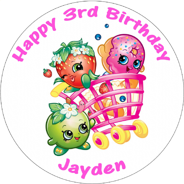 SHOPKINS CART PERSONALISED ROUND BIRTHDAY CAKE TOPPER